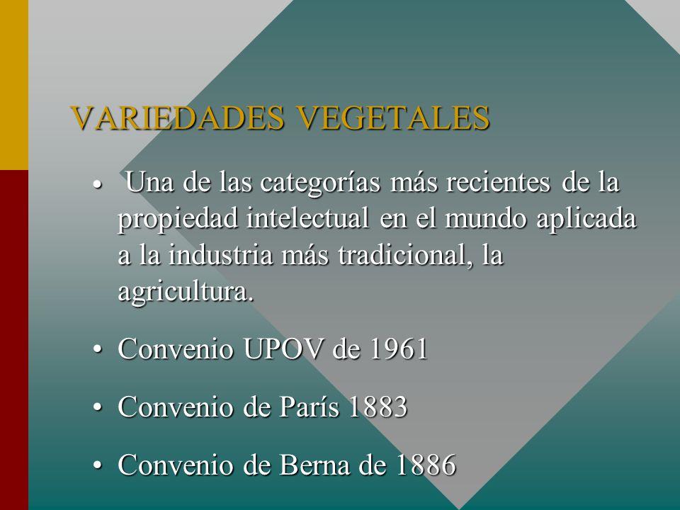VARIEDADES VEGETALES Una de las categorías más recientes de la propiedad intelectual en el mundo aplicada a la industria más tradicional, la agricultura.