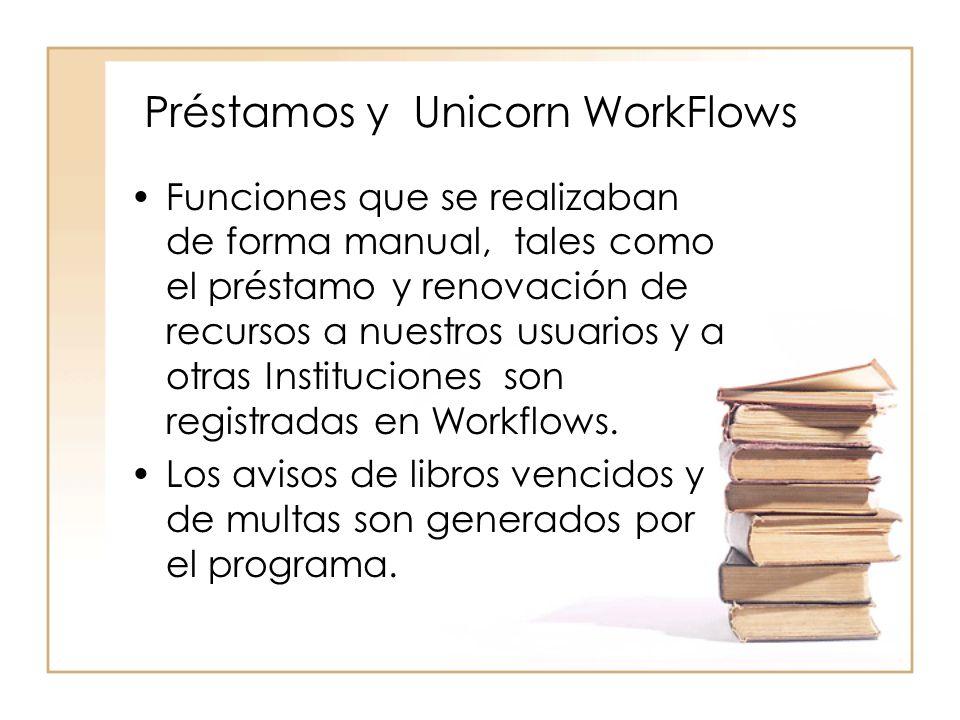 Préstamos y Unicorn WorkFlows Funciones que se realizaban de forma manual, tales como el préstamo y renovación de recursos a nuestros usuarios y a otras Instituciones son registradas en Workflows.