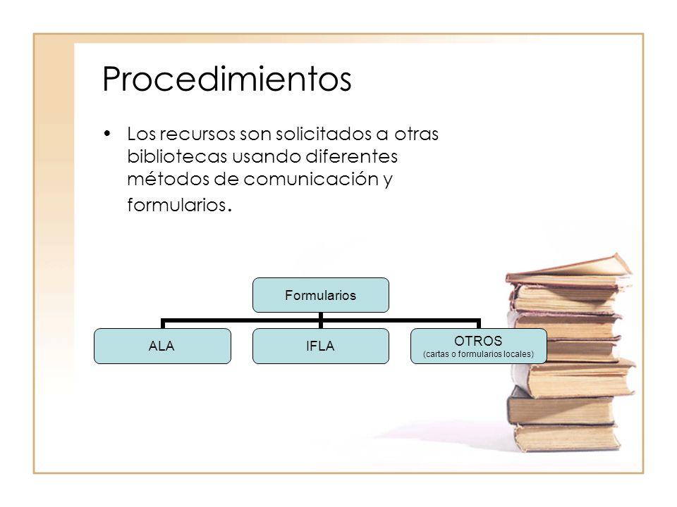 Procedimientos Los recursos son solicitados a otras bibliotecas usando diferentes métodos de comunicación y formularios.