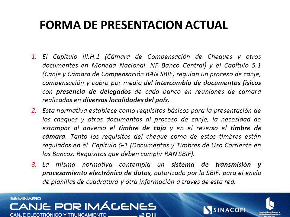 FORMA DE PRESENTACION ACTUAL 1.El Capítulo III.H.1 (Cámara de Compensación de Cheques y otros documentes en Moneda Nacional.