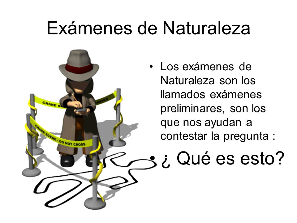 Exámenes de Naturaleza Los exámenes de Naturaleza son los llamados exámenes preliminares, son los que nos ayudan a contestar la pregunta : ¿ Qué es esto