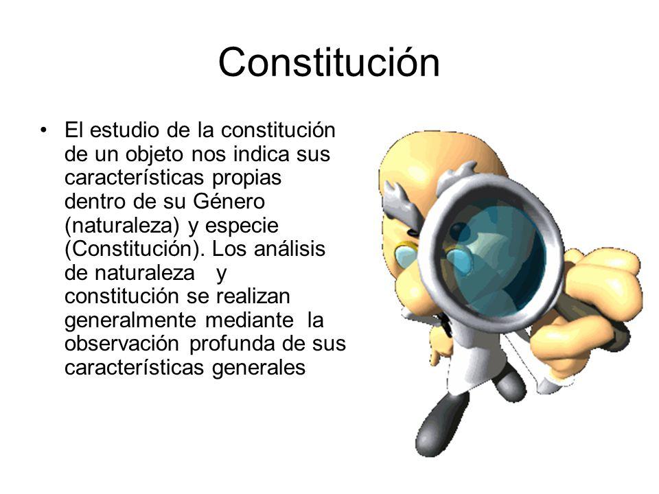 Constitución El estudio de la constitución de un objeto nos indica sus características propias dentro de su Género (naturaleza) y especie (Constitución).