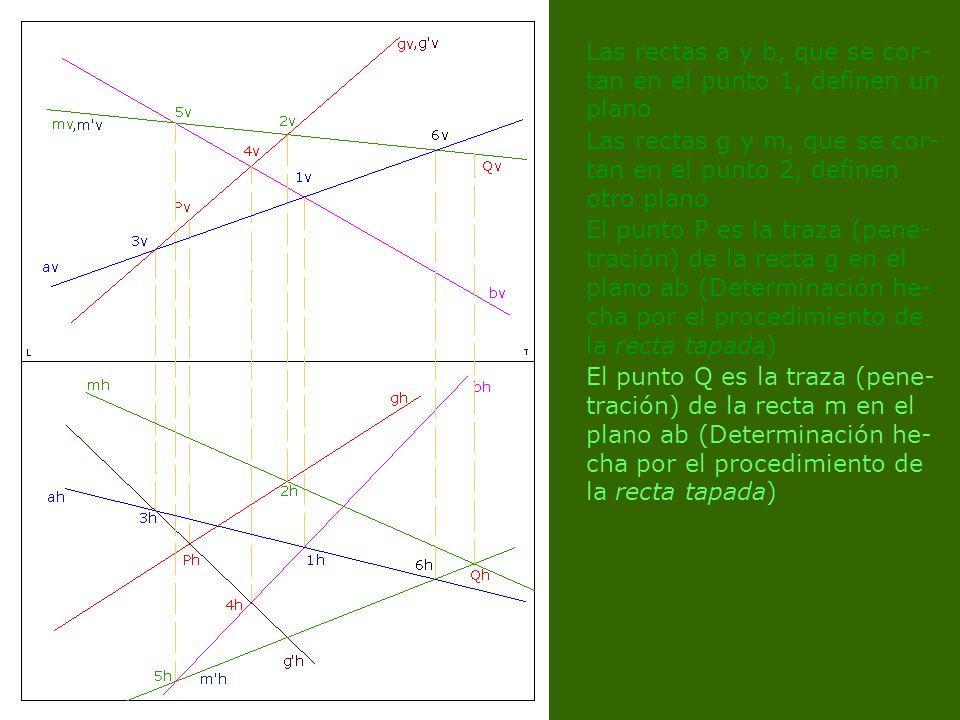 Las rectas a y b, que se cor- tan en el punto 1, definen un plano Las rectas g y m, que se cor- tan en el punto 2, definen otro plano El punto P es la traza (pene- tración) de la recta g en el plano ab (Determinación he- cha por el procedimiento de la recta tapada) El punto Q es la traza (pene- tración) de la recta m en el plano ab (Determinación he- cha por el procedimiento de la recta tapada)