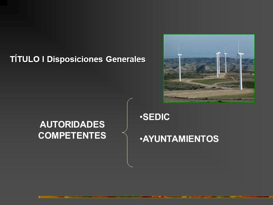 TÍTULO I Disposiciones Generales AUTORIDADES COMPETENTES SEDIC AYUNTAMIENTOS
