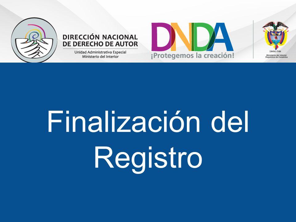 Finalización del Registro