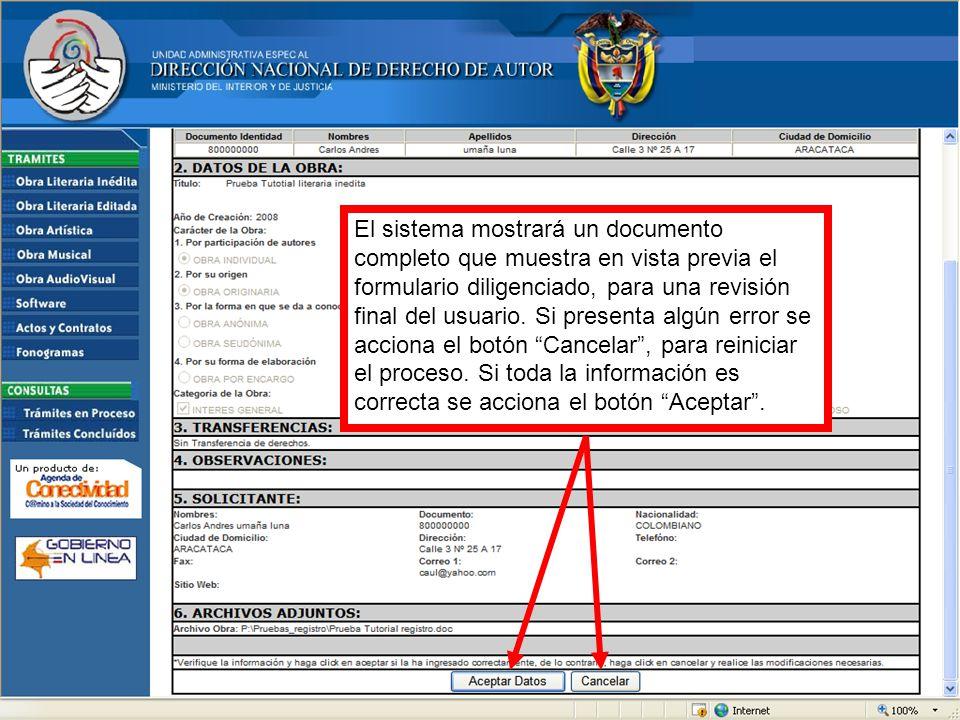 El sistema mostrará un documento completo que muestra en vista previa el formulario diligenciado, para una revisión final del usuario.