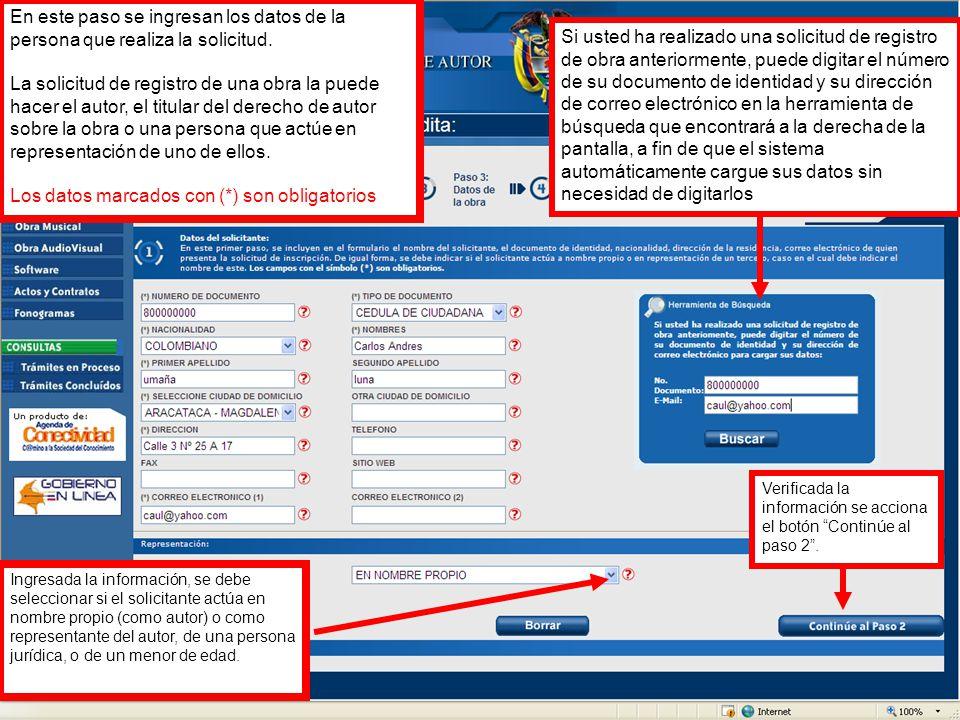 En este paso se ingresan los datos de la persona que realiza la solicitud.