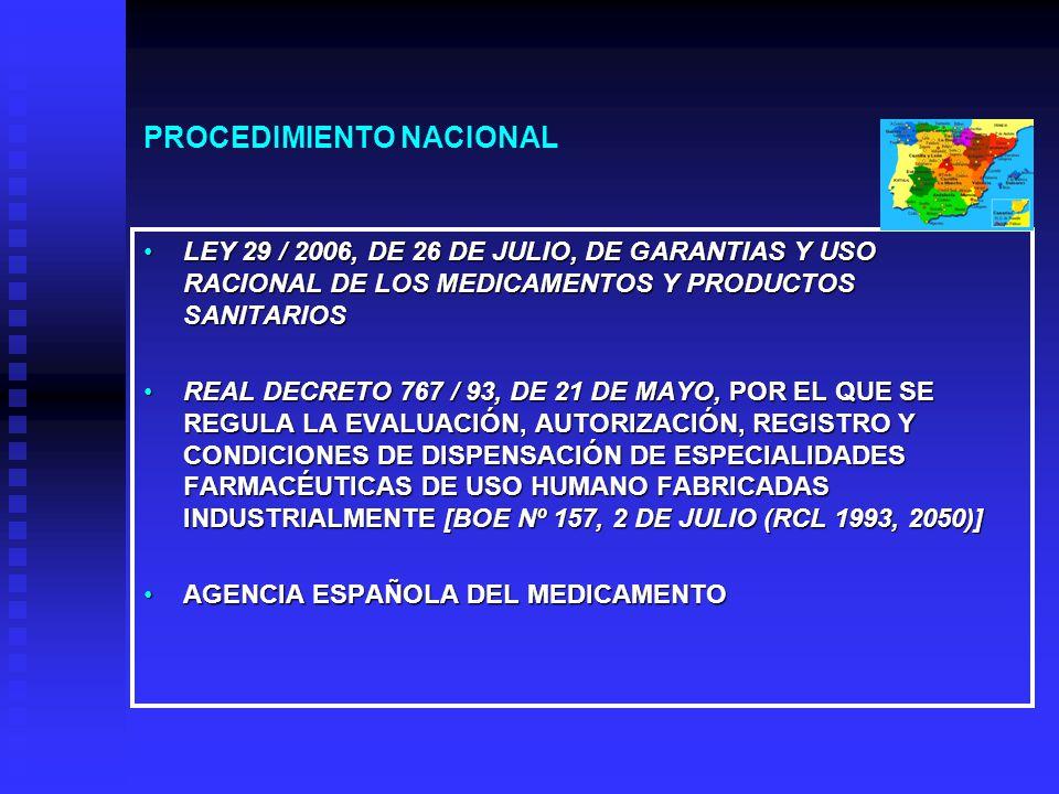 PROCEDIMIENTO NACIONAL LEY 29 / 2006, DE 26 DE JULIO, DE GARANTIAS Y USO RACIONAL DE LOS MEDICAMENTOS Y PRODUCTOS SANITARIOSLEY 29 / 2006, DE 26 DE JULIO, DE GARANTIAS Y USO RACIONAL DE LOS MEDICAMENTOS Y PRODUCTOS SANITARIOS REAL DECRETO 767 / 93, DE 21 DE MAYO, POR EL QUE SE REGULA LA EVALUACIÓN, AUTORIZACIÓN, REGISTRO Y CONDICIONES DE DISPENSACIÓN DE ESPECIALIDADES FARMACÉUTICAS DE USO HUMANO FABRICADAS INDUSTRIALMENTE [BOE Nº 157, 2 DE JULIO (RCL 1993, 2050)]REAL DECRETO 767 / 93, DE 21 DE MAYO, POR EL QUE SE REGULA LA EVALUACIÓN, AUTORIZACIÓN, REGISTRO Y CONDICIONES DE DISPENSACIÓN DE ESPECIALIDADES FARMACÉUTICAS DE USO HUMANO FABRICADAS INDUSTRIALMENTE [BOE Nº 157, 2 DE JULIO (RCL 1993, 2050)] AGENCIA ESPAÑOLA DEL MEDICAMENTOAGENCIA ESPAÑOLA DEL MEDICAMENTO