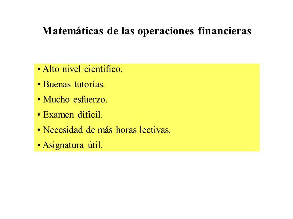 Matemáticas de las operaciones financieras Alto nivel científico.