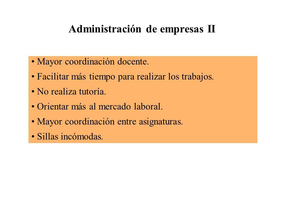 Administración de empresas II Mayor coordinación docente.