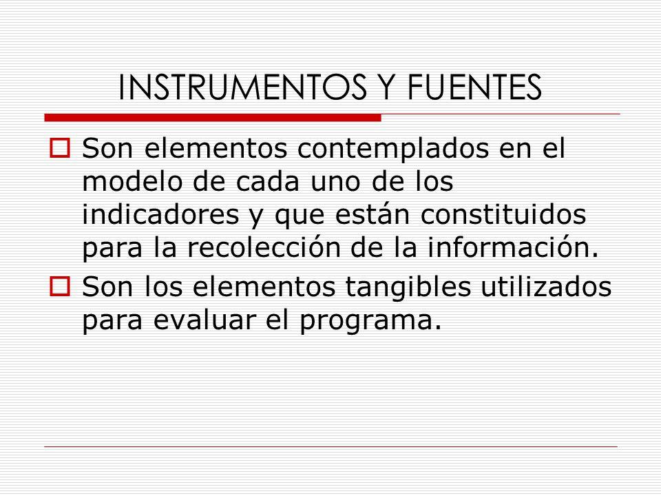 INSTRUMENTOS Y FUENTES  Son elementos contemplados en el modelo de cada uno de los indicadores y que están constituidos para la recolección de la información.