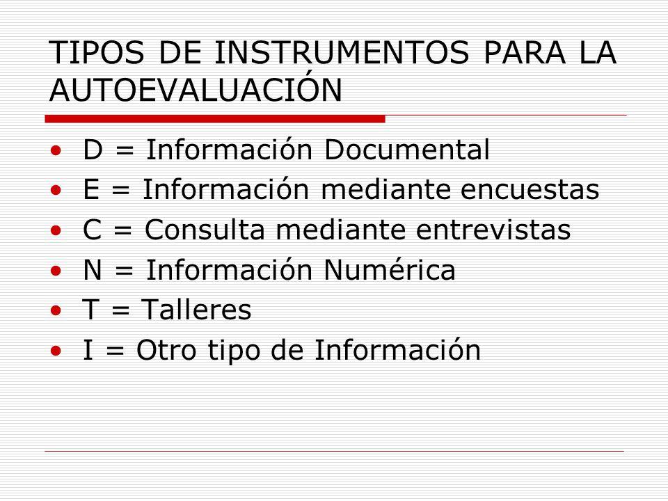 TIPOS DE INSTRUMENTOS PARA LA AUTOEVALUACIÓN D = Información Documental E = Información mediante encuestas C = Consulta mediante entrevistas N = Información Numérica T = Talleres I = Otro tipo de Información