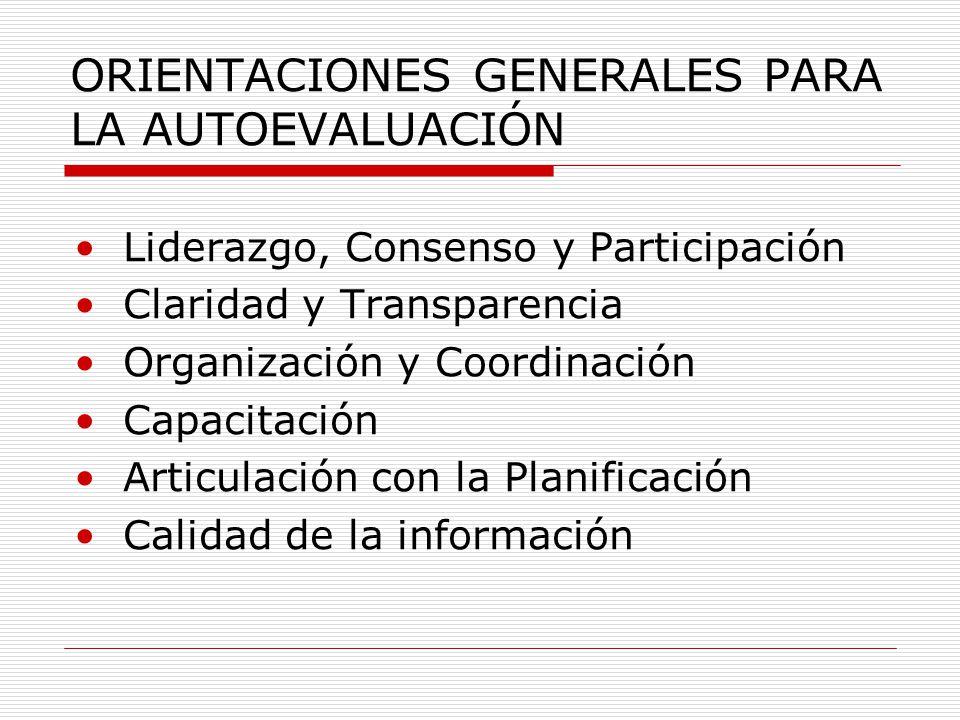 ORIENTACIONES GENERALES PARA LA AUTOEVALUACIÓN Liderazgo, Consenso y Participación Claridad y Transparencia Organización y Coordinación Capacitación Articulación con la Planificación Calidad de la información