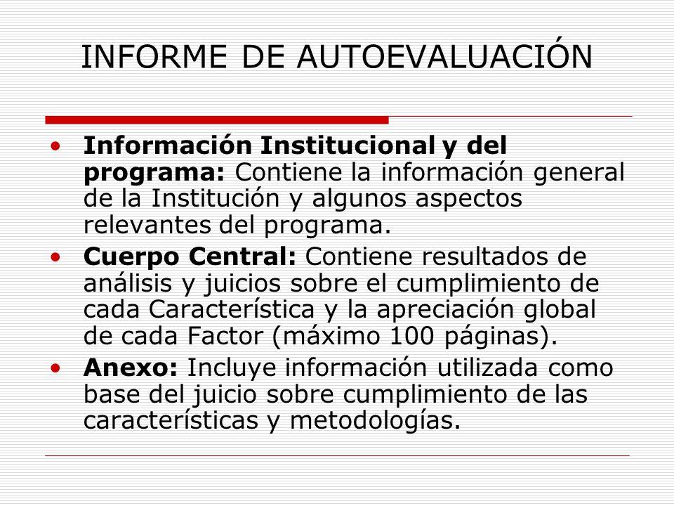 INFORME DE AUTOEVALUACIÓN Información Institucional y del programa: Contiene la información general de la Institución y algunos aspectos relevantes del programa.