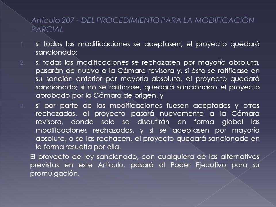 1. si todas las modificaciones se aceptasen, el proyecto quedará sancionado; 2.