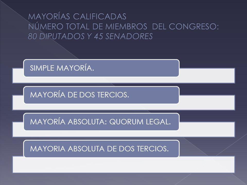 SIMPLE MAYORÍA.MAYORÍA DE DOS TERCIOS.MAYORÍA ABSOLUTA: QUORUM LEGAL.MAYORIA ABSOLUTA DE DOS TERCIOS.