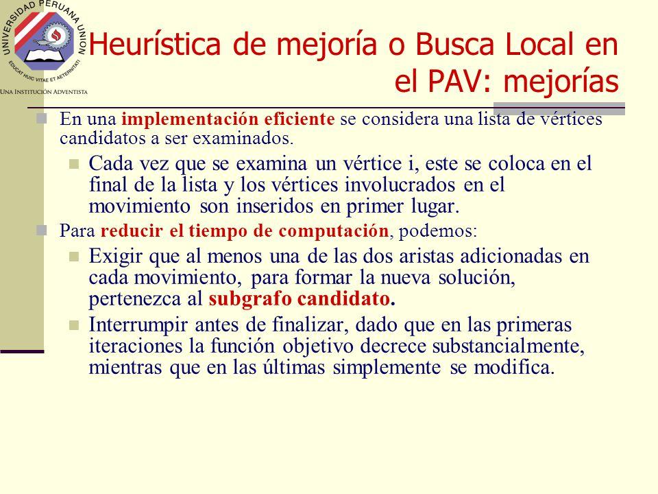 Heurística de mejoría o Busca Local en el PAV: mejorías En una implementación eficiente se considera una lista de vértices candidatos a ser examinados.