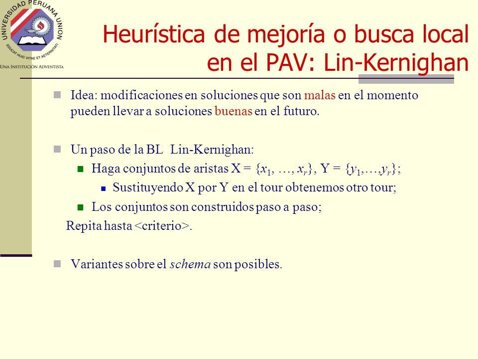 Heurística de mejoría o busca local en el PAV: Lin-Kernighan Idea: modificaciones en soluciones que son malas en el momento pueden llevar a soluciones buenas en el futuro.