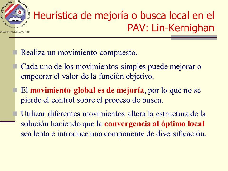 Heurística de mejoría o busca local en el PAV: Lin-Kernighan Realiza un movimiento compuesto.