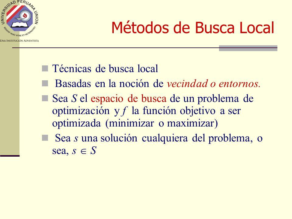 Métodos de Busca Local Técnicas de busca local Basadas en la noción de vecindad o entornos.