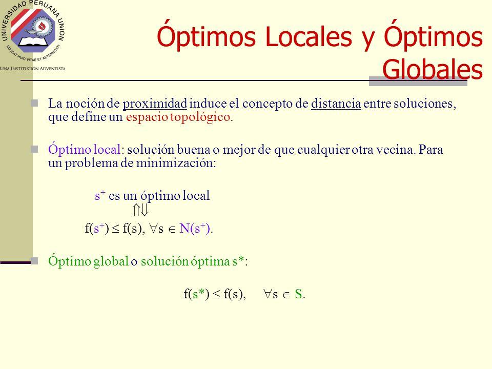 Óptimos Locales y Óptimos Globales La noción de proximidad induce el concepto de distancia entre soluciones, que define un espacio topológico.