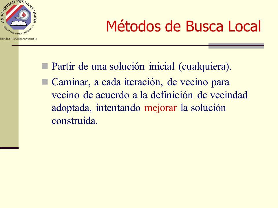 Métodos de Busca Local Partir de una solución inicial (cualquiera).