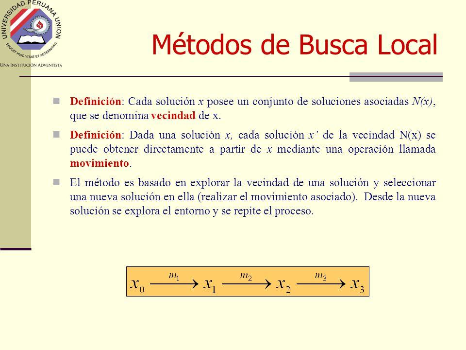 Métodos de Busca Local Definición: Cada solución x posee un conjunto de soluciones asociadas N(x), que se denomina vecindad de x.