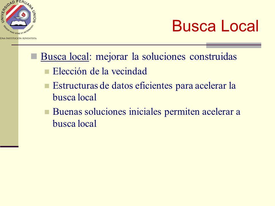 Busca Local Busca local: mejorar la soluciones construidas Elección de la vecindad Estructuras de datos eficientes para acelerar la busca local Buenas soluciones iniciales permiten acelerar a busca local