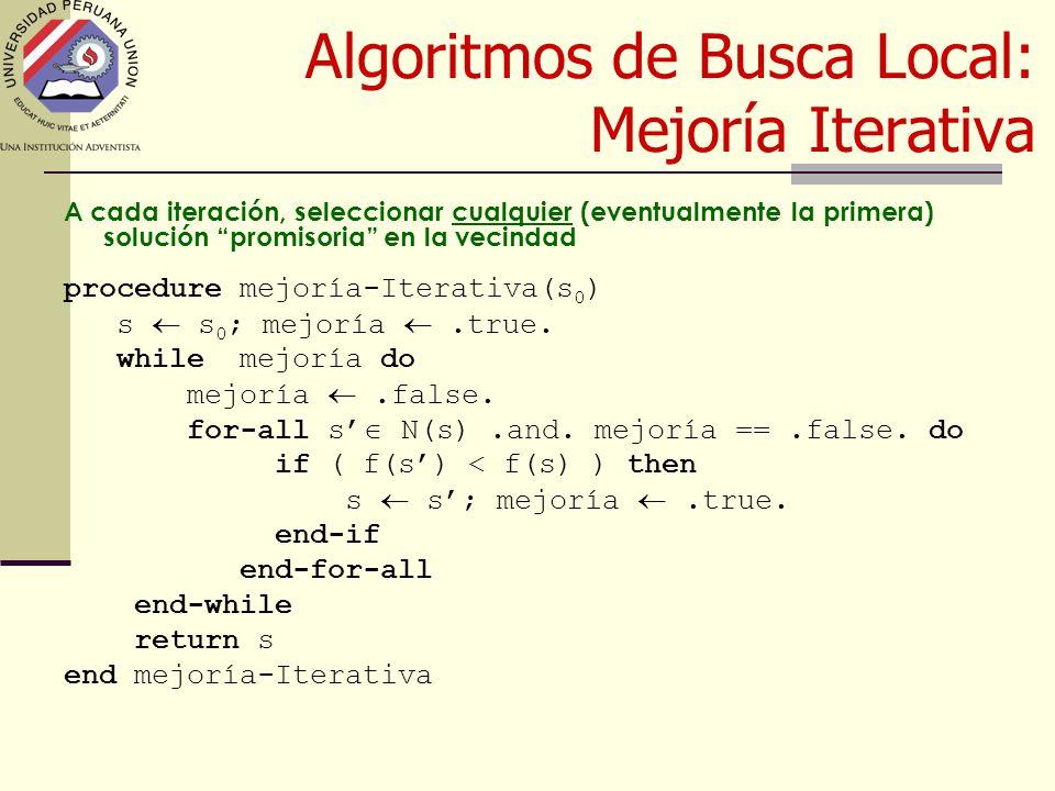 Algoritmos de Busca Local: Mejoría Iterativa A cada iteración, seleccionar cualquier (eventualmente la primera) solución promisoria en la vecindad procedure mejoría-Iterativa(s 0 ) s  s 0 ; mejoría .true.