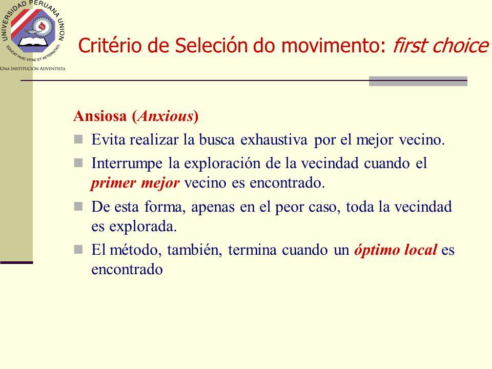 Critério de Seleción do movimento: first choice Ansiosa (Anxious) Evita realizar la busca exhaustiva por el mejor vecino.