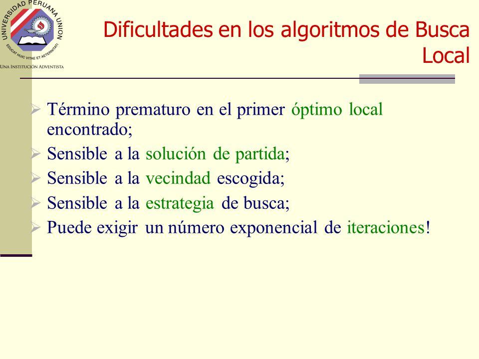 Dificultades en los algoritmos de Busca Local  Término prematuro en el primer óptimo local encontrado;  Sensible a la solución de partida;  Sensible a la vecindad escogida;  Sensible a la estrategia de busca;  Puede exigir un número exponencial de iteraciones!
