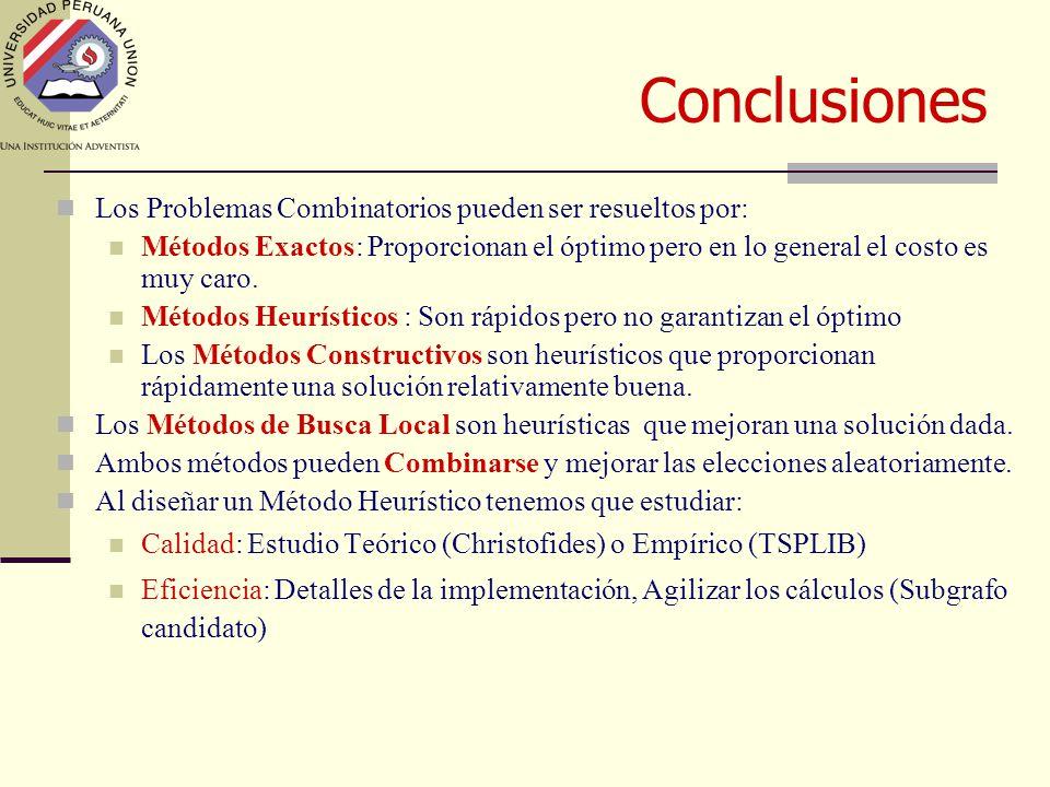 Conclusiones Los Problemas Combinatorios pueden ser resueltos por: Métodos Exactos: Proporcionan el óptimo pero en lo general el costo es muy caro.