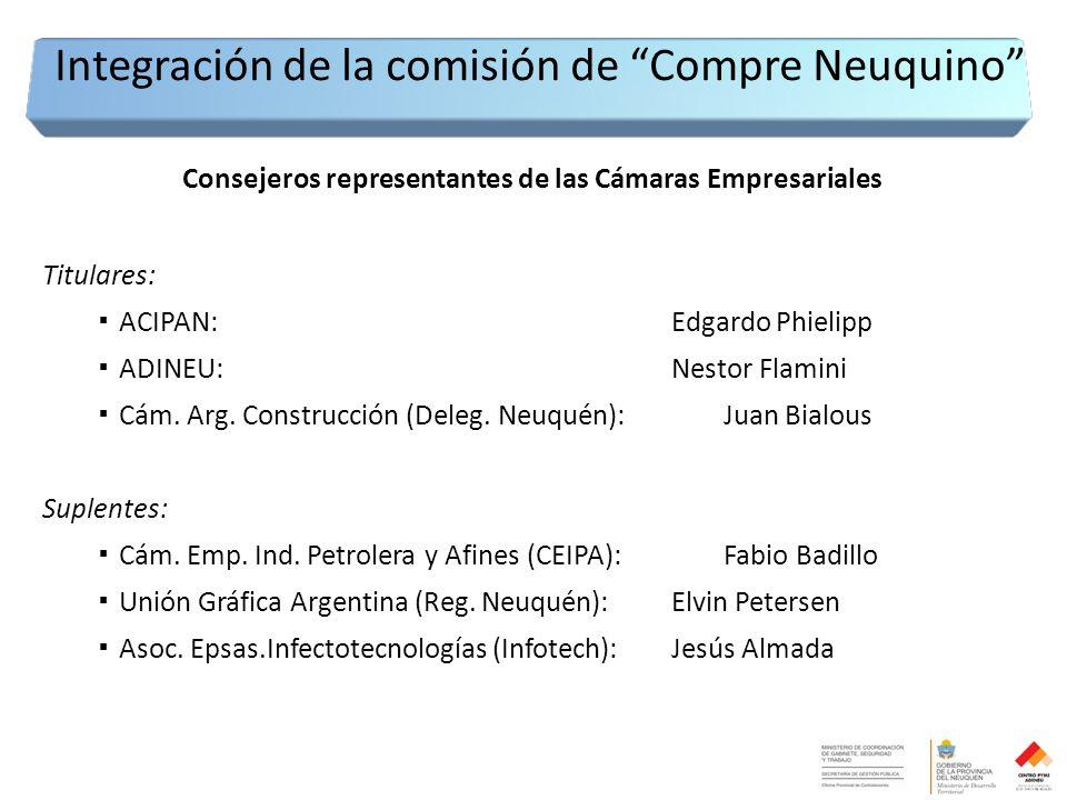 Consejeros representantes de las Cámaras Empresariales Titulares: ▪ ACIPAN:Edgardo Phielipp ▪ ADINEU:Nestor Flamini ▪ Cám.