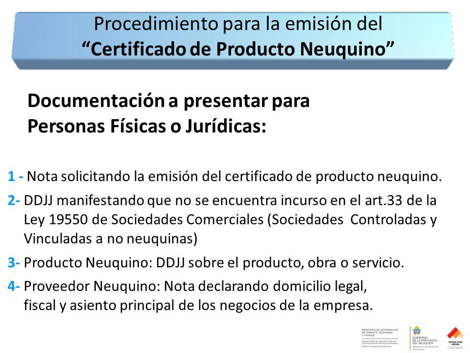 Documentación a presentar para Personas Físicas o Jurídicas: 1 - Nota solicitando la emisión del certificado de producto neuquino.