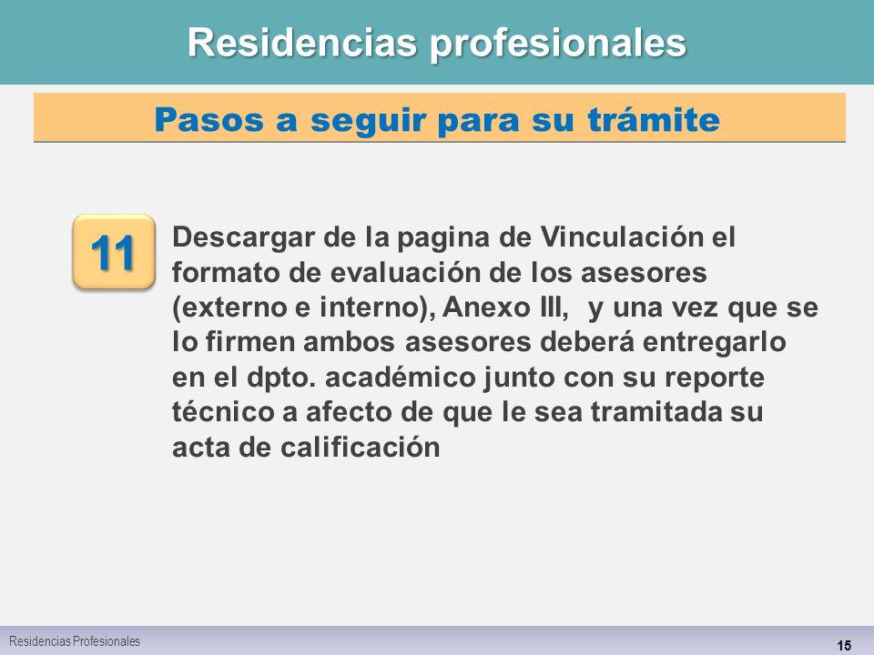 Residencias profesionales 15 Descargar de la pagina de Vinculación el formato de evaluación de los asesores (externo e interno), Anexo III, y una vez que se lo firmen ambos asesores deberá entregarlo en el dpto.
