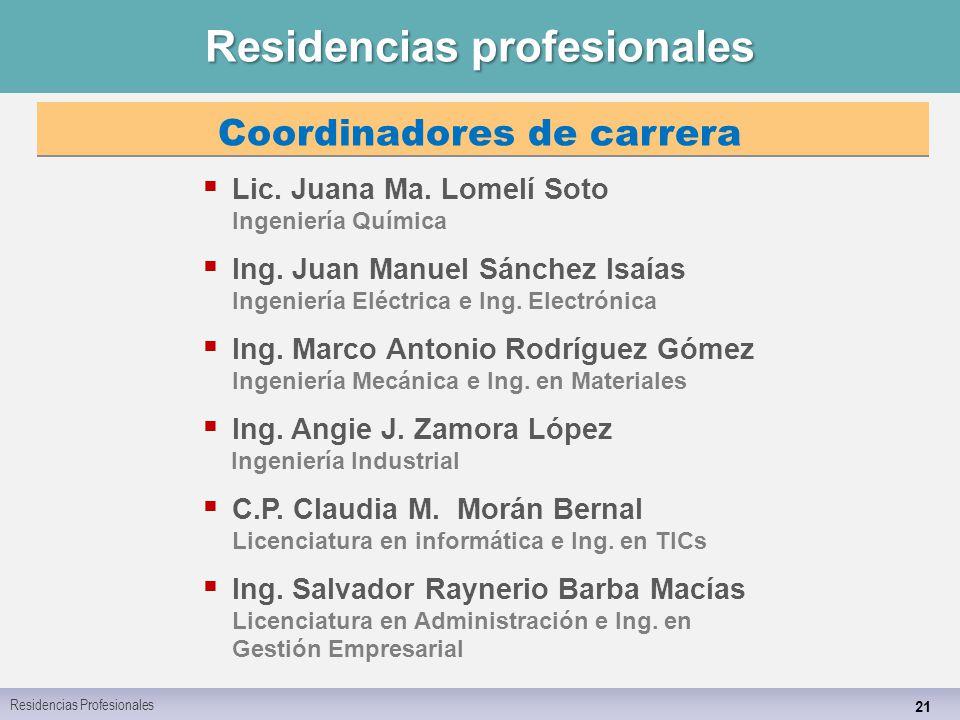 Residencias profesionales 21 Residencias Profesionales Coordinadores de carrera  Lic.