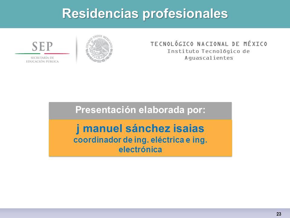 Residencias profesionales Presentación elaborada por: j manuel sánchez isaias coordinador de ing.