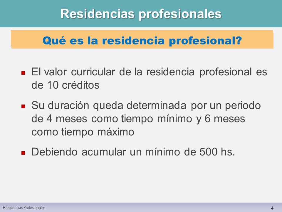 Residencias profesionales 4 Residencias Profesionales El valor curricular de la residencia profesional es de 10 créditos Su duración queda determinada por un periodo de 4 meses como tiempo mínimo y 6 meses como tiempo máximo Debiendo acumular un mínimo de 500 hs.