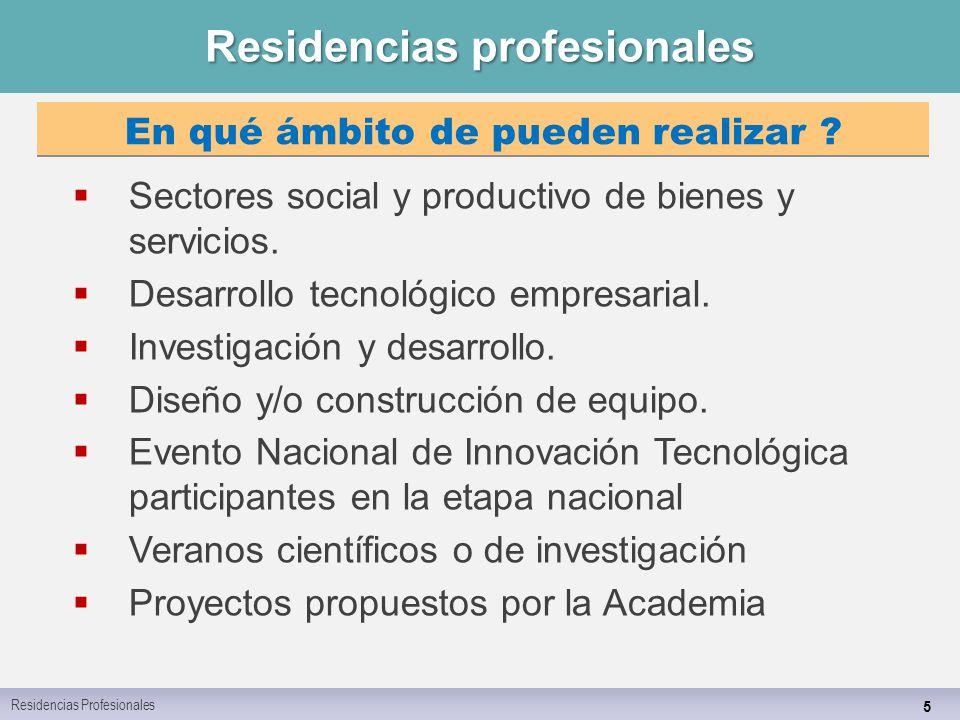 Residencias profesionales 5  Sectores social y productivo de bienes y servicios.