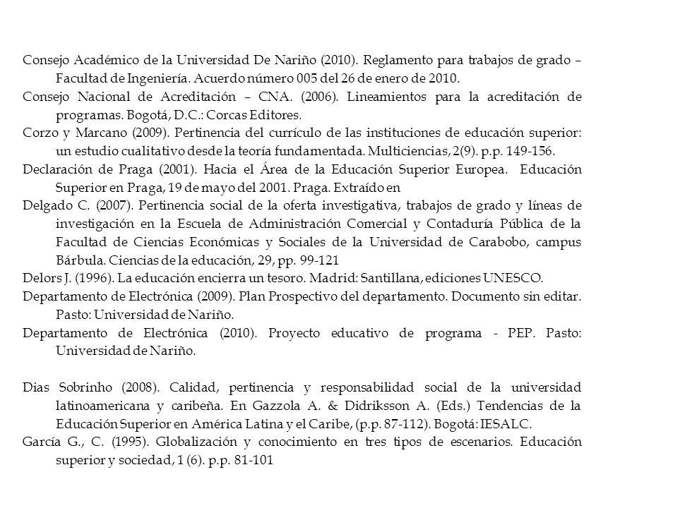 Consejo Académico de la Universidad De Nariño (2010).