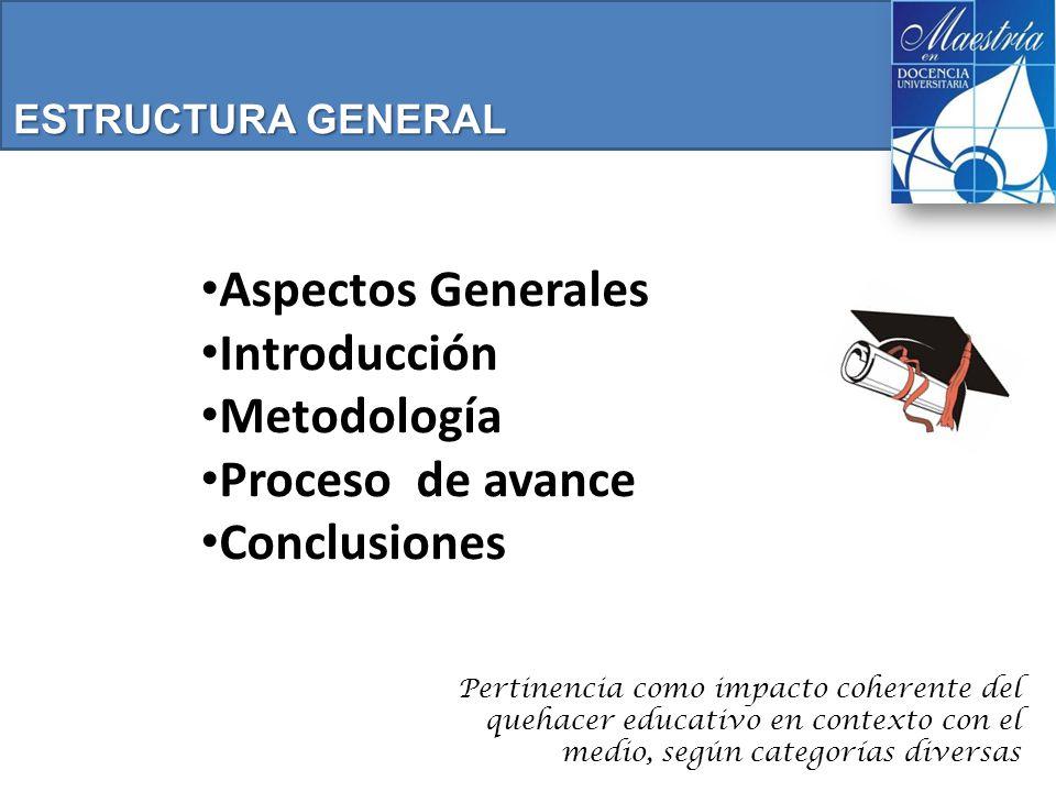 Aspectos Generales Introducción Metodología Proceso de avance Conclusiones ESTRUCTURA GENERAL Pertinencia como impacto coherente del quehacer educativo en contexto con el medio, según categorías diversas