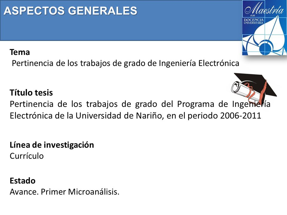 Tema Pertinencia de los trabajos de grado de Ingeniería Electrónica ASPECTOS GENERALES Título tesis Pertinencia de los trabajos de grado del Programa de Ingeniería Electrónica de la Universidad de Nariño, en el periodo 2006-2011 Estado Avance.