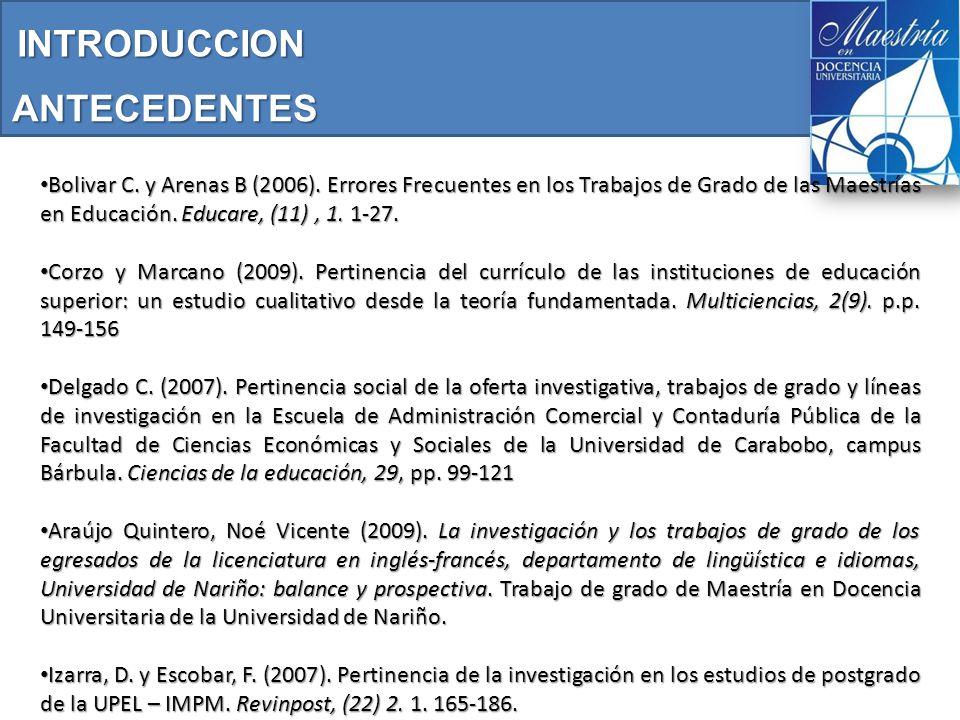 ANTECEDENTES Bolivar C. y Arenas B (2006).