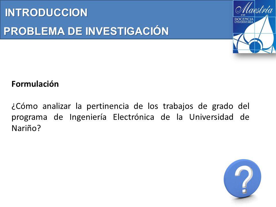 Formulación ¿Cómo analizar la pertinencia de los trabajos de grado del programa de Ingeniería Electrónica de la Universidad de Nariño.
