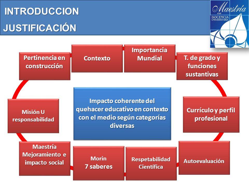 JUSTIFICACIÓN Pertinencia en construcción Contexto Impacto coherente del quehacer educativo en contexto con el medio según categorías diversas Impacto coherente del quehacer educativo en contexto con el medio según categorías diversas ImportanciaMundial T.