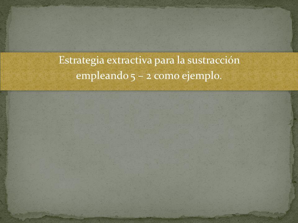 Estrategia extractiva para la sustracción empleando 5 – 2 como ejemplo.