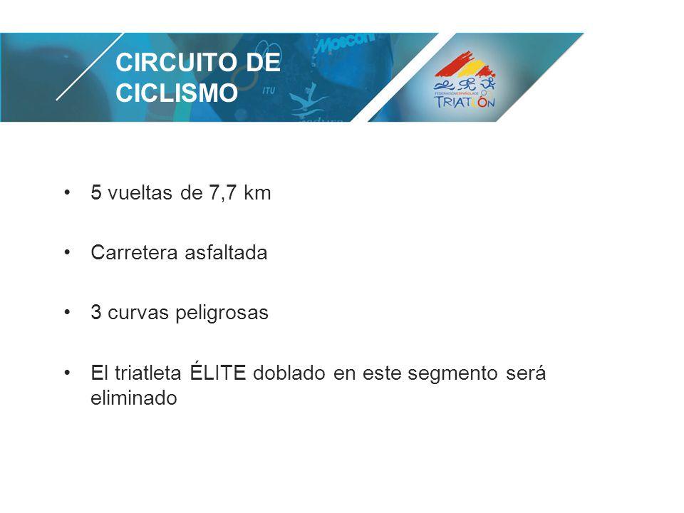 CIRCUITO DE CICLISMO 5 vueltas de 7,7 km Carretera asfaltada 3 curvas peligrosas El triatleta ÉLITE doblado en este segmento será eliminado