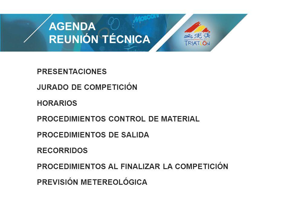 AGENDA REUNIÓN TÉCNICA PRESENTACIONES JURADO DE COMPETICIÓN HORARIOS PROCEDIMIENTOS CONTROL DE MATERIAL PROCEDIMIENTOS DE SALIDA RECORRIDOS PROCEDIMIENTOS AL FINALIZAR LA COMPETICIÓN PREVISIÓN METEREOLÓGICA