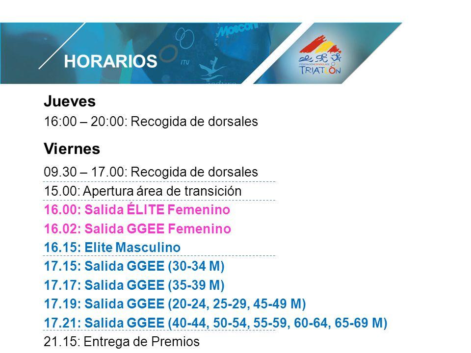 HORARIOS Jueves 16:00 – 20:00: Recogida de dorsales Viernes 09.30 – 17.00: Recogida de dorsales 15.00: Apertura área de transición 16.00: Salida ÉLITE Femenino 16.02: Salida GGEE Femenino 16.15: Elite Masculino 17.15: Salida GGEE (30-34 M) 17.17: Salida GGEE (35-39 M) 17.19: Salida GGEE (20-24, 25-29, 45-49 M) 17.21: Salida GGEE (40-44, 50-54, 55-59, 60-64, 65-69 M) 21.15: Entrega de Premios