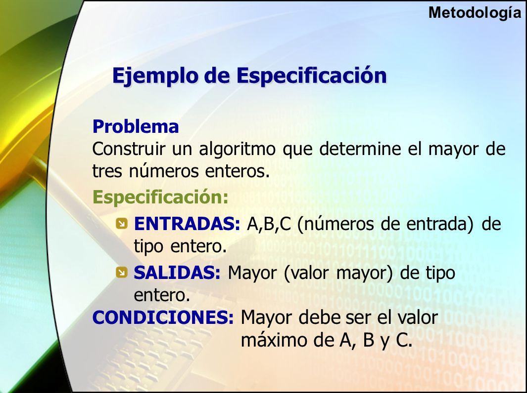 Ejemplo de Especificación Problema Construir un algoritmo que determine el mayor de tres números enteros.